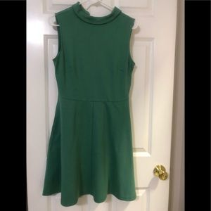 High neck cotton dress with pockets